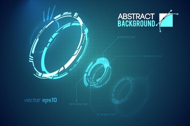 Modelo abstrato futurista com interfaces de usuário virtuais inovadoras em ilustração escura Vetor grátis
