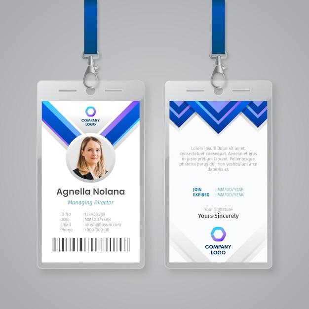 Modelo abstrato para carteiras de identidade com foto Vetor grátis