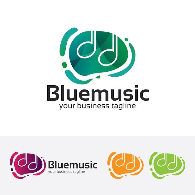 Modelo azul do logotipo do vetor da música Vetor Premium