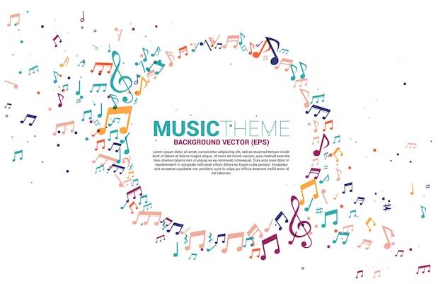Modelo banner e cartaz música colorida melodia nota dançando fluxo Vetor Premium