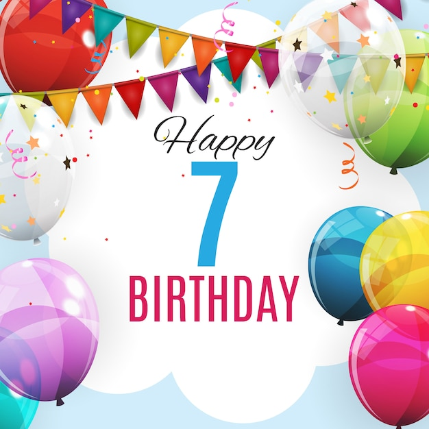 Modelo bonito aniversário de 7 anos. grupo de fundo de balões de hélio brilhante cor Vetor Premium