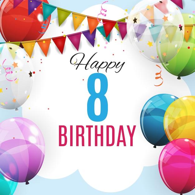 Modelo bonito aniversário de 8 anos. grupo de fundo de balões de hélio brilhante cor Vetor Premium