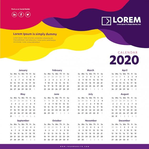Modelo colorido de calendário de parede 2020 Vetor Premium