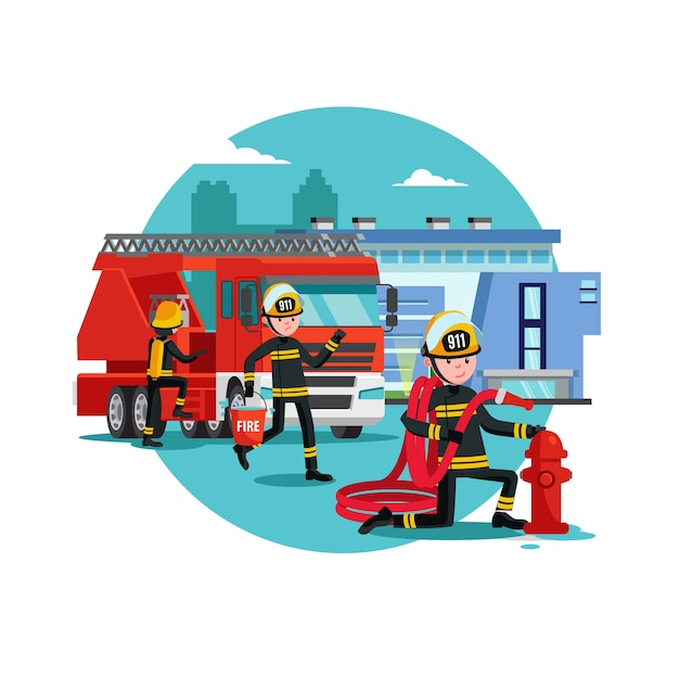Modelo colorido de combate a incêndios Vetor grátis