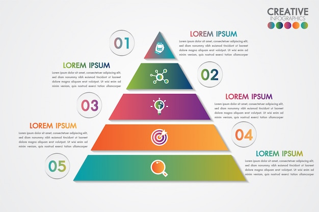 Modelo colorido de infográficos pirâmide com 5 passos ou conceito de opções. Vetor Premium
