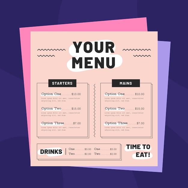 Modelo colorido de menu de restaurante Vetor grátis