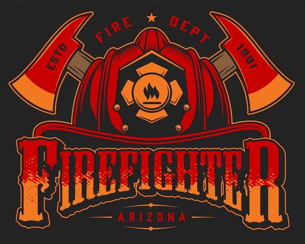 Modelo colorido do logotipo vintage bombeiro com eixos cruzados e crânio no capacete de bombeiro na ilustração preta Vetor grátis