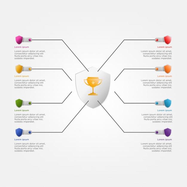 Modelo colorido infográfico com troféu e escudos Vetor Premium