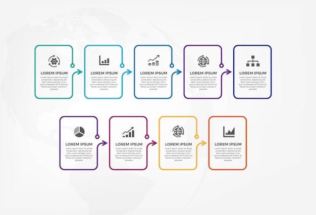 Modelo colorido infográfico Vetor Premium