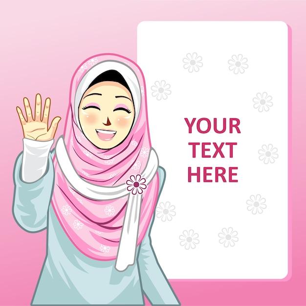 Modelo com menina hijab Vetor Premium