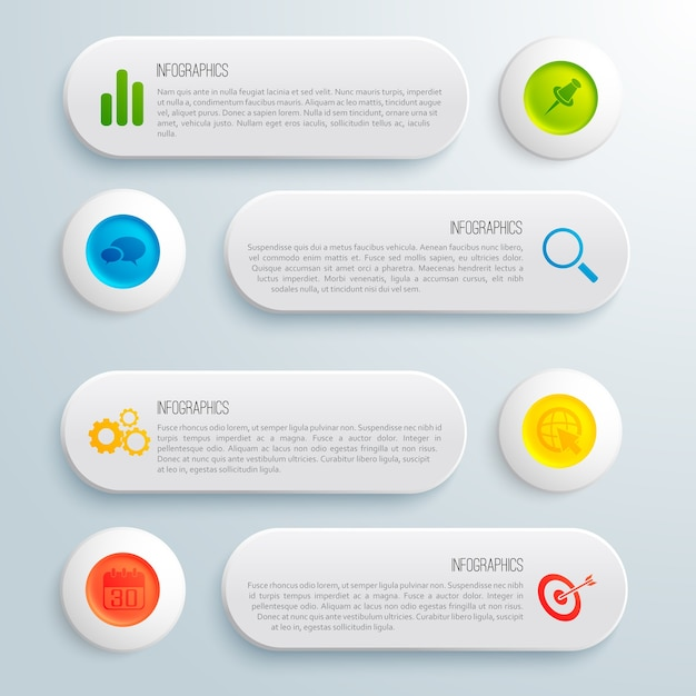 Modelo conceitual de negócios infográfico com ilustração de ícones e texto de círculos coloridos banners cinza Vetor grátis