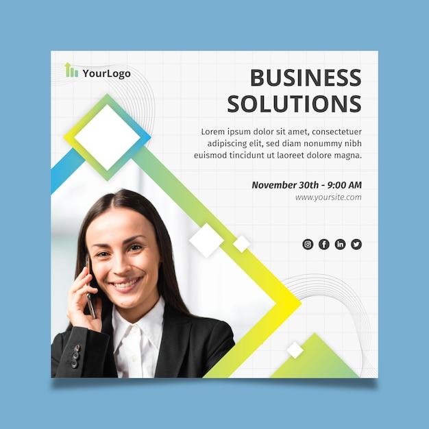 Modelo corporativo de panfleto quadrado de soluções gerais de negócios Vetor grátis