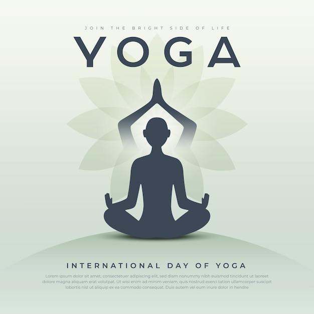 Modelo criativo de dia de ioga Vetor Premium