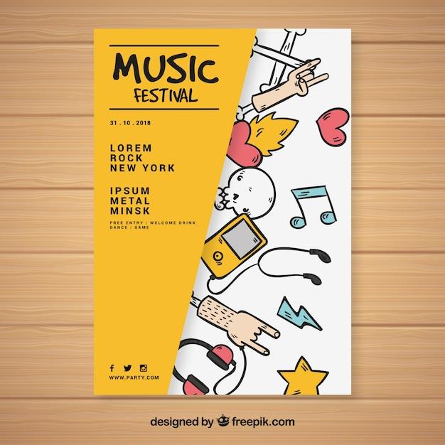 Modelo criativo do cartaz do festival de música Vetor grátis