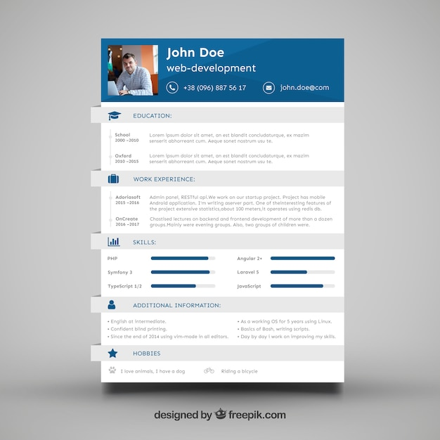 Modelo cv do desenvolvedor web Baixar