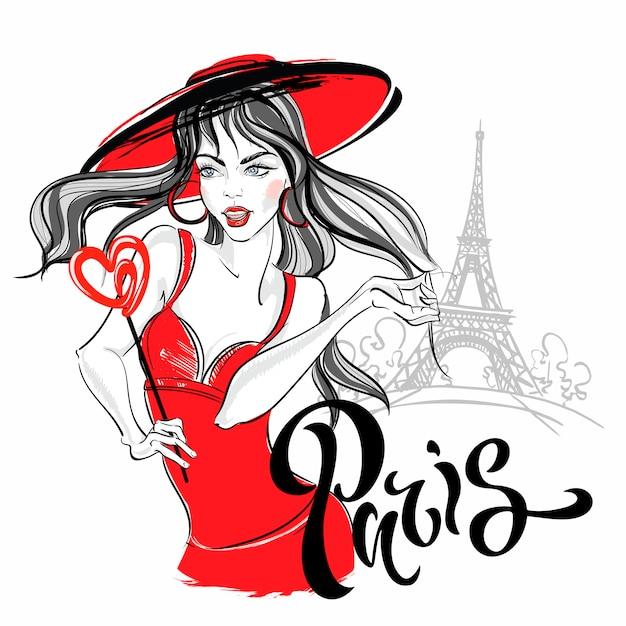 Modelo da menina em paris contra a torre eiffel. ilustração. Vetor Premium