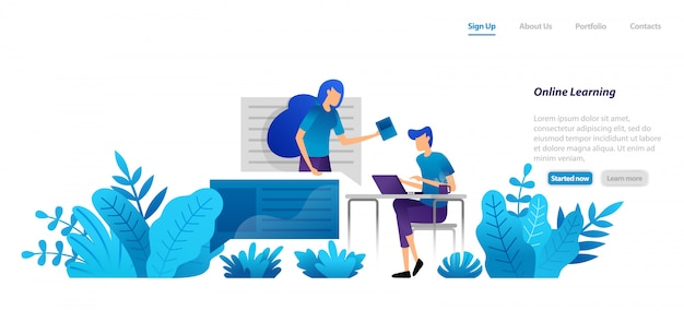 Modelo da web da página de destino. aprendizagem online a partir de casa com tecnologia de internet com mentores profissionais. video homeschooling. Vetor Premium