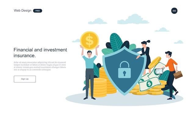Modelo da web da página de destino. conceito de negócio para o seguro financeiro. Vetor Premium