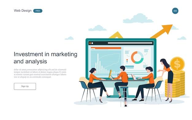 Modelo da web da página de destino. conceito para financeiro e investimento. retorno sobre o investimento. Vetor Premium
