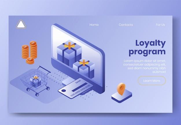 Modelo da web da página de destino. conjunto de conceito de design isométrico digital Vetor Premium