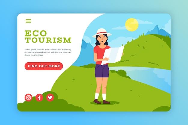 Modelo da web da página de destino do ecoturismo Vetor grátis