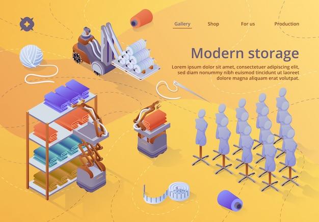 Modelo da web da página de destino. equipamento de armazenamento de fábrica moderna têxtil Vetor Premium