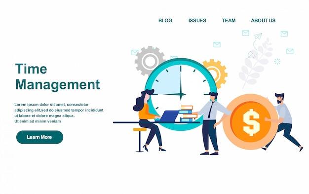 Modelo da web da página de destino. ilustração em vetor gerenciamento de tempo, design plano Vetor Premium