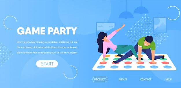Modelo da web da página de destino. jogo party couple jogue twister Vetor Premium