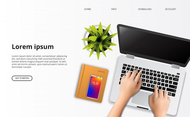 Modelo da web da página de destino. mão, digitando, ligado, a, laptop, com, planta, e, caderno, vista superior, escrivaninha Vetor Premium