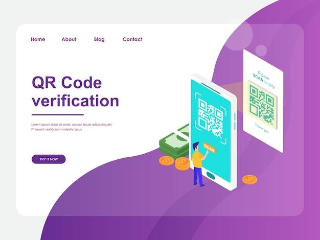 Modelo da web da página de destino. pagamento móvel com design isométrico plano de conceito de verificação de código qr Vetor Premium