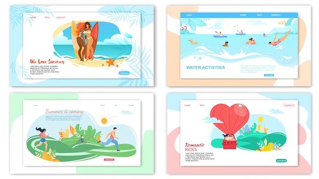 Modelo da web da página de destino para atividades de horário de verão Vetor Premium