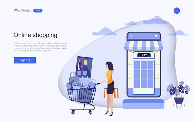 Modelo da web da página de destino para compras e serviços on-line Vetor Premium