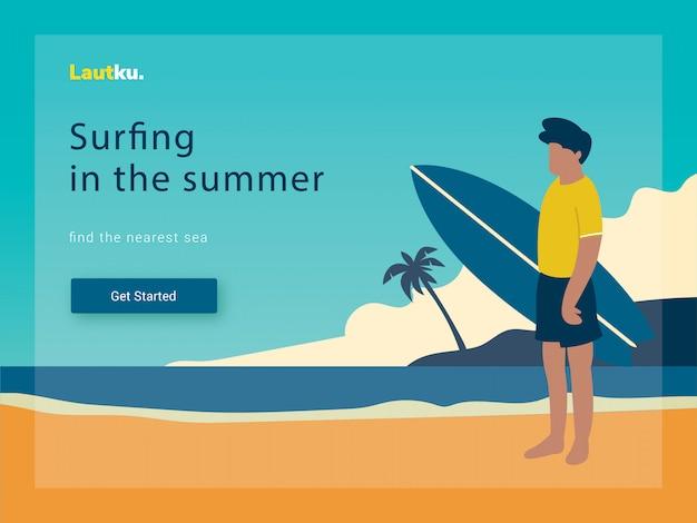 Modelo da web da página de destino. surfando o homem na praia, ilustração vetorial Vetor Premium
