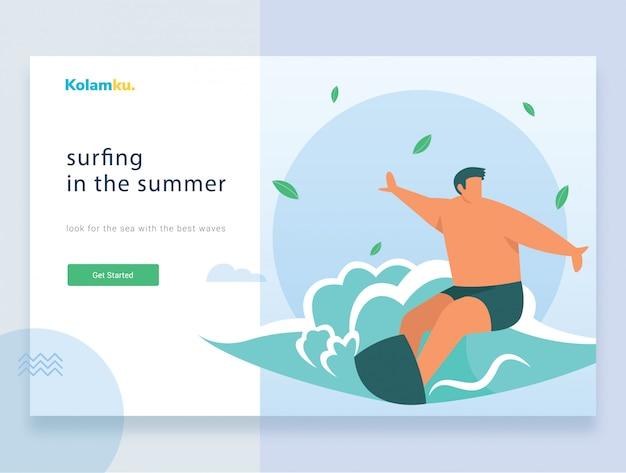 Modelo da web da página de destino. surfista montando a onda. ilustração vetorial Vetor Premium