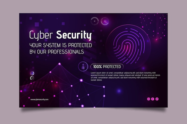 Modelo da web de banner de segurança cibernética Vetor grátis