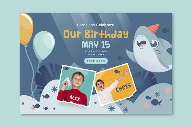 Modelo da web de banner de tubarão de aniversário infantil Vetor grátis