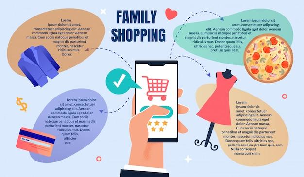 Modelo da web de pedidos on-line e compras em família Vetor Premium