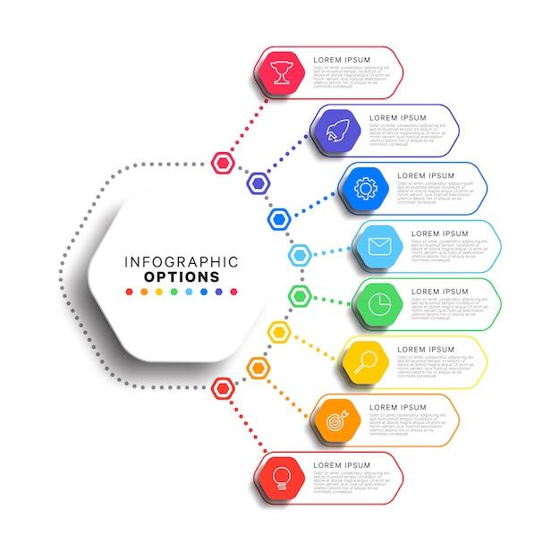 Modelo de 8 etapas infográfico com elementos hexagonais realistas em fundo branco Vetor Premium