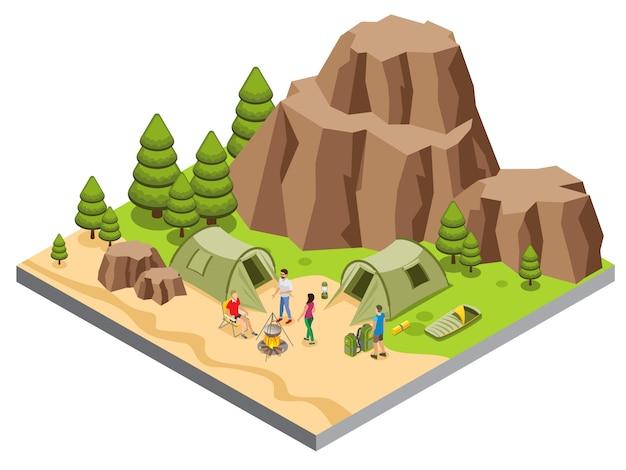 Modelo de acampamento de montanha isométrica com comida de turistas cozinha tendas tapete saco de dormir lanterna árvores Vetor grátis