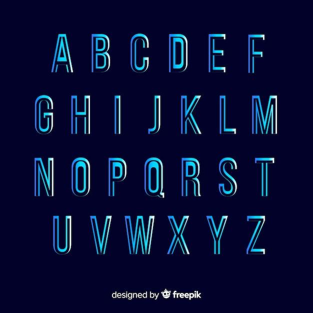 Modelo de alfabeto gradiente monocromático Vetor grátis