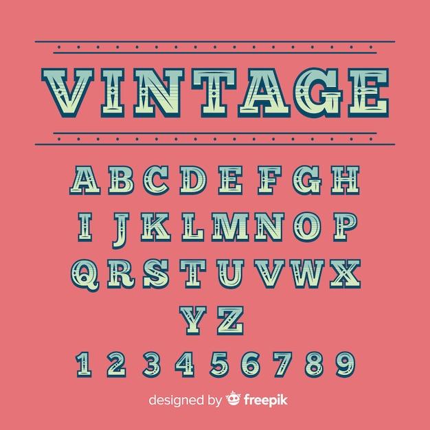 Modelo de alfabeto vintage Vetor grátis