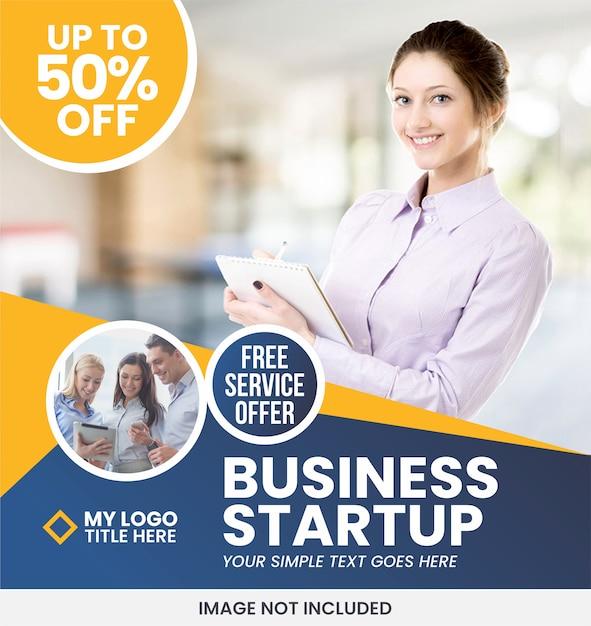 Modelo de anúncio - banner de negócios Vetor Premium