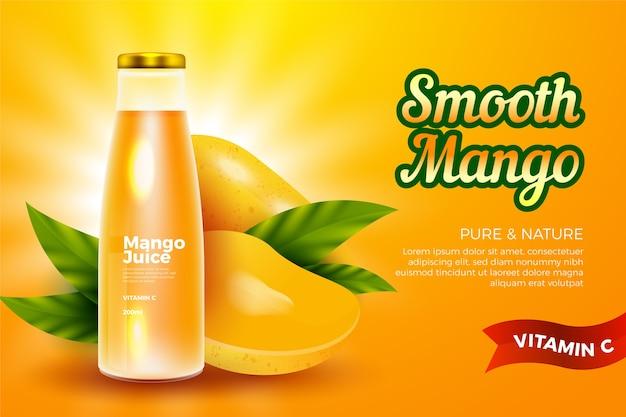 Modelo de anúncio - bebida para suco de manga Vetor grátis