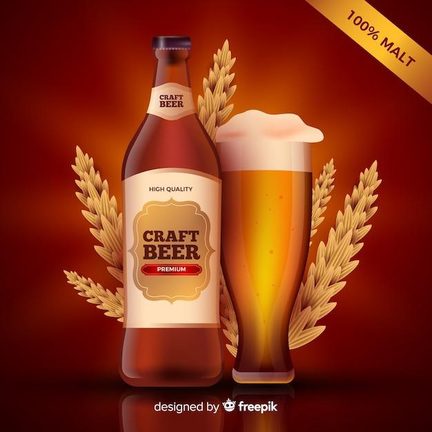 Modelo de anúncio de cerveja realista Vetor grátis