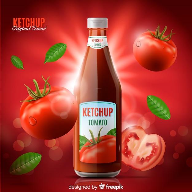 Modelo de anúncio de ketchup Vetor grátis