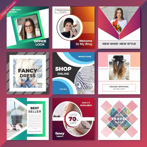 Modelo de anúncio de mídia social da web de moda Vetor Premium