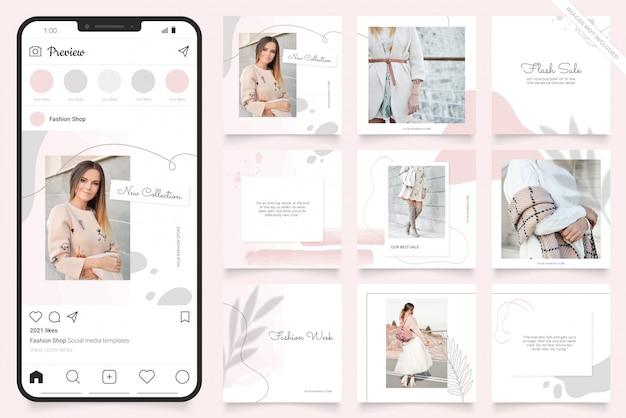 Modelo de anúncio de mídia social para instagram Vetor Premium