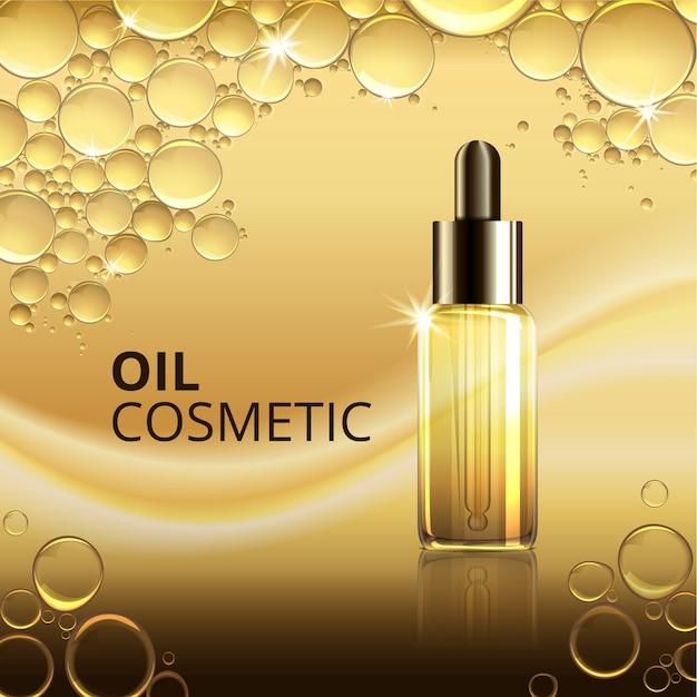 Modelo de anúncio de óleo cosmético brilhante Vetor Premium