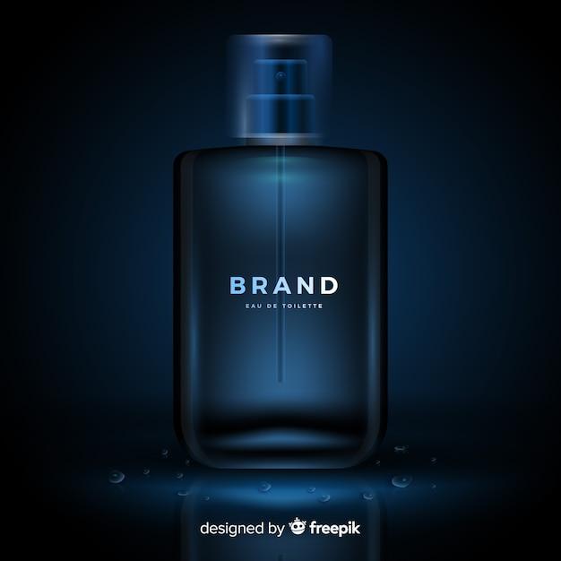 Modelo de anúncio de perfume de luxo realista Vetor grátis