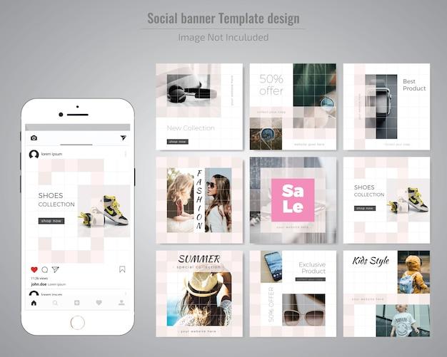 Modelo de anúncio - mídia social com desconto criativo Vetor Premium